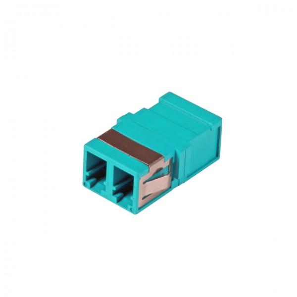 LWL-Kupplung, LC-Buchse/LC-Buchse, 50/125u Multimode, duplex, PVC, aqua, ohne Flansch,