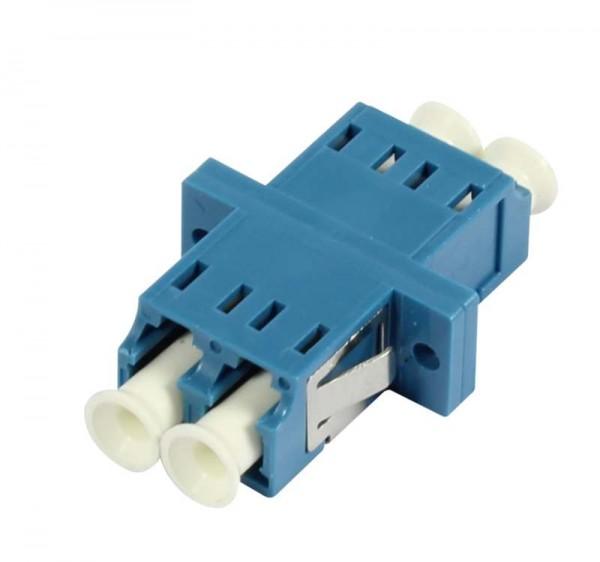 LWL-Kupplung, LC-Buchse/LC-Buchse, 9/125u Singlemode, duplex, PVC, Keramikhülse, mit Flansch, Syner