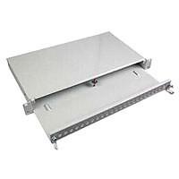 """LWL-Patchpanel für 24xLC/MTRJ-duplex/SC-Simplex Buchsen, 19""""/1H, ohne Kupplungen, ausziehbar,"""
