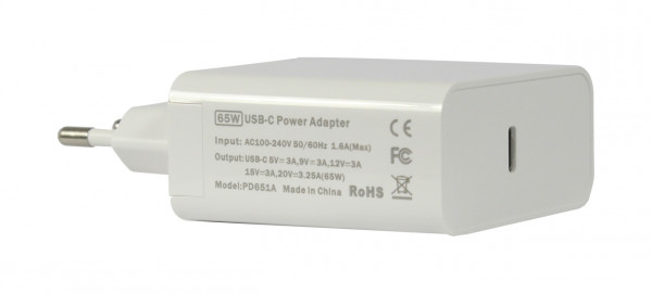 ALLNET Ersatznetzteil QC USB-C PD Netzteil Power Supply65Watt 1x USB Typ-A, 1x USB Typ-C**EU PLUG*