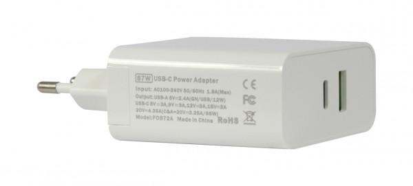 ALLNET Ersatznetzteil QC USB-C PD Netzteil Power Supply 87 Watt 1x USB Typ-A, 1x USB Typ-C**EU PLUG*