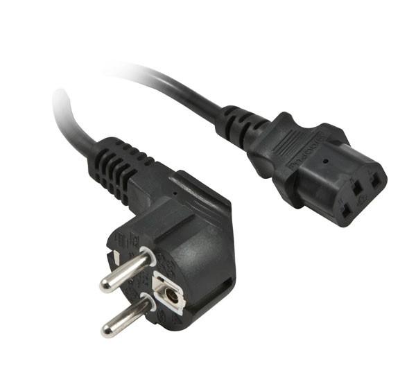 Netzkabel 230V Schutzkontakt CEE7(Stecker)->Kaltgeräte IEC-C13(Buchse), 2m, Black, Synergy 21,