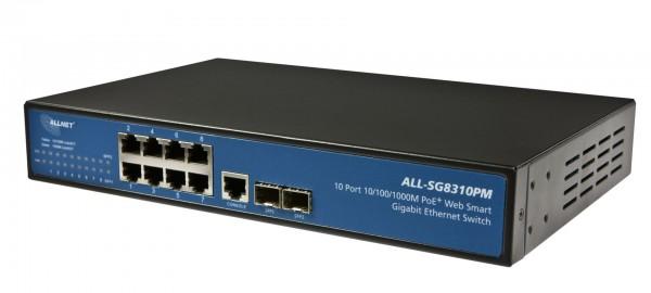"ALLNET Switch smart managed 8 Port Gigabit 150W / 8x PoE+ / 2x SFP / Lüfterlos / 19"" / ""ALL-SG8310PM"