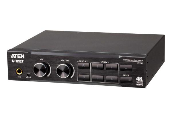 Aten Video Switch, 3xInput(HDMI/VGA/HDBaseT), 2xOutput(HDMI/HDBaseT), 4 x 2 True 4K Präsentation, DS