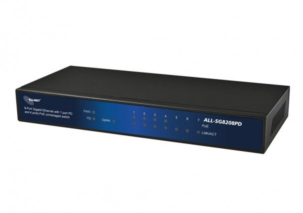 "ALLNET Switch unmanaged 8 Port Gigabit 60W / 4x PoE / 3x LAN / 1x PoE+ In / ""ALL-SG8208PD"""