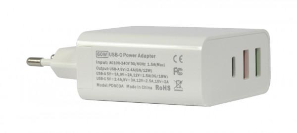 ALLNET Ersatznetzteil QC USB-C PD Netzteil Power Supply60Watt 2x USB Typ-A, 1x USB Typ-C**EU PLUG*