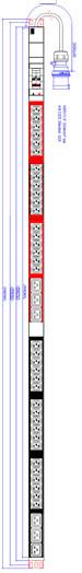 """ALLNET 19""""zbh. Steckdosenleiste,36xKaltgeräte(C13)+6xC19->Stecker(CEE 32A), 2xLeitungsschutzschalter"""