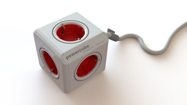 Allocacoc Powercube, Extended, 5xDosen(CEE7)->Stecker(CEE7), 3m, weiss/rot,